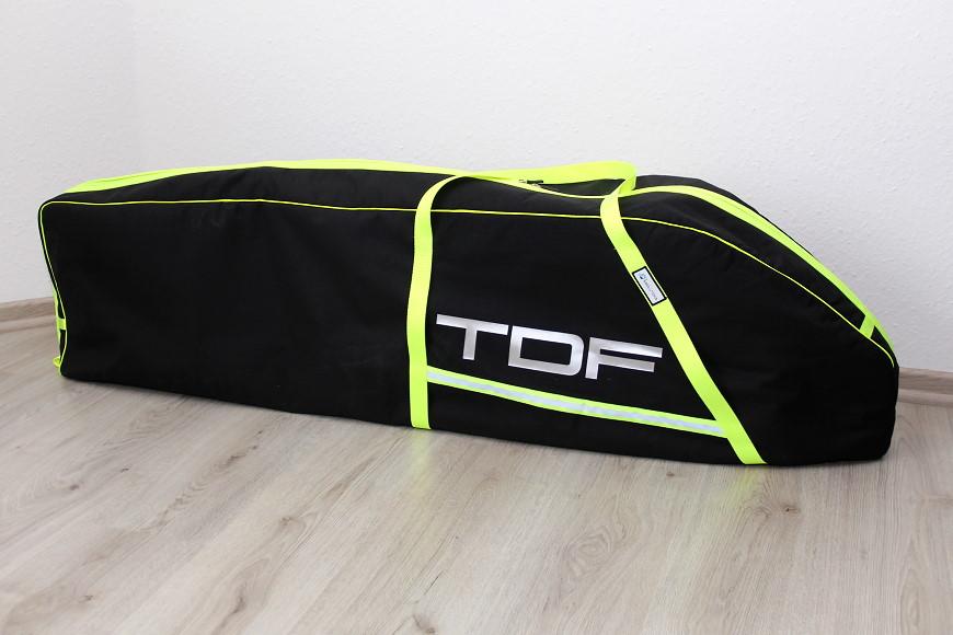 RC Heli Transporttasche für den Henseleit TDF von aerolutions.de: Wir haben uns für schwarzes Cordura mit neongelben Bändern und silbernem TDF-Schriftzug entschieden.